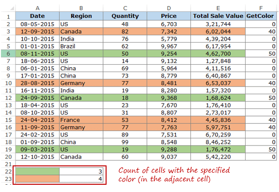 Count Colored Cells in Excel - Color Count without VBA