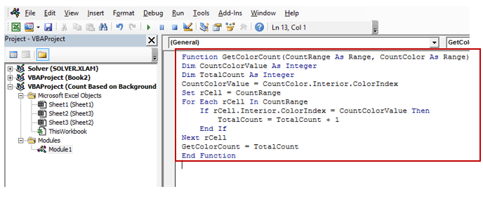 Custom function VBA code to Count Colored Cells in Excel