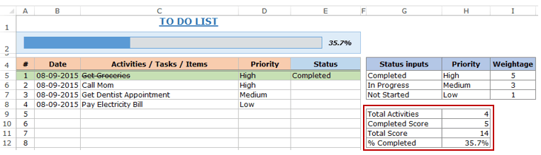 Excel To Do List Template completion calculation