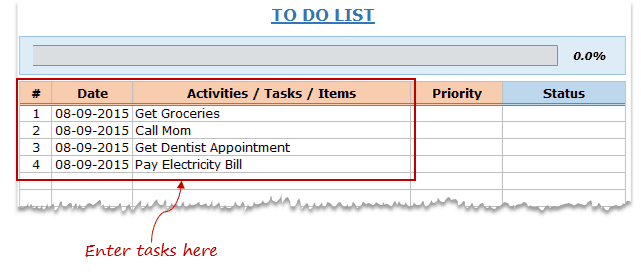 Excel To Do List Template with drop down - enter tasks