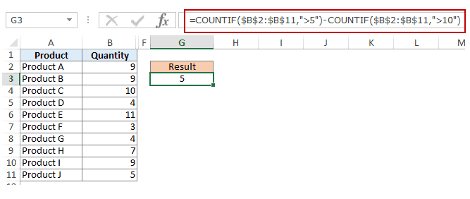 Using Multiple Criteria in Excel COUNTIF Function - Between criteria two countif