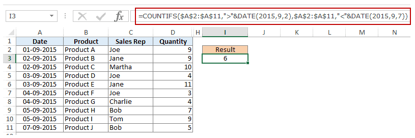 Using Multiple Criteria in Excel COUNTIF Function - Date Criteria before and after