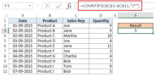 Using Multiple Criteria in Excel COUNTIF Function - count specific text wildcard