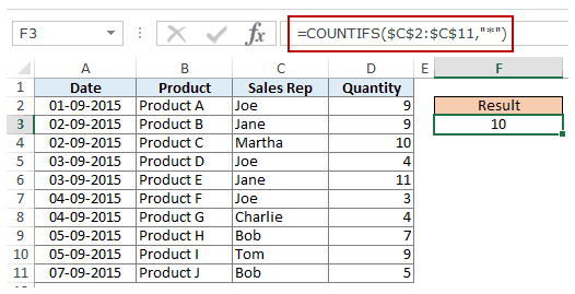 Using Multiple Criteria in Excel COUNTIF Function - wildcard character count text