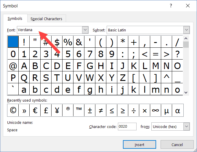 Font in Symbol dialog box