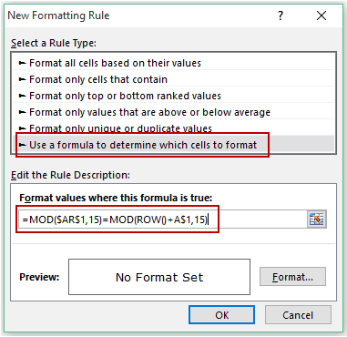 Matrix Falling Numbers - Conditional Formatting formula 1