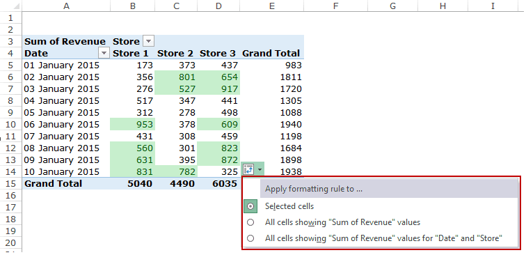 Apply Conditional Formatting in a Pivot Table in Excel - Formatting Options Dropdown