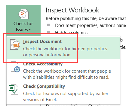 Click on Inspect Document option