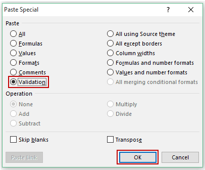 Selecting Validation Option in Paste Special