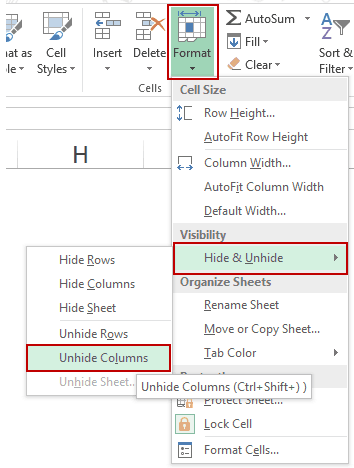 how to quickly unhide columns in excel