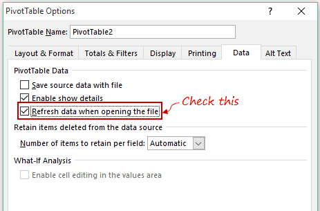 Pivot Cache in Pivot Table Excel - Check Refresh