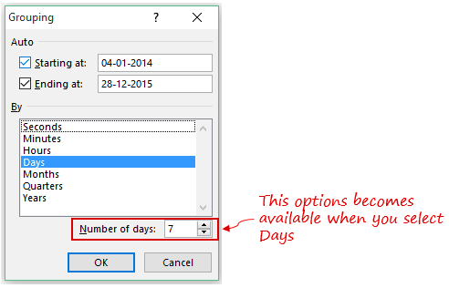 Pivot Cache in Pivot Table Excel - Select DaysPNG