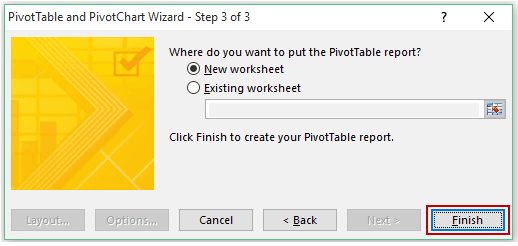 Pivot Cache in Pivot Table Excel - Step 3 Wizard