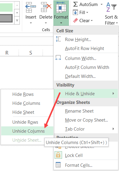 Unhide Columns option