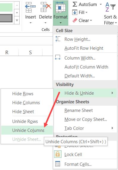 Unhide Columns option