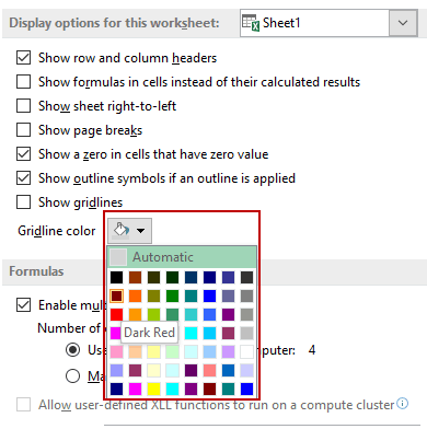 How to Remove Gridlines in Excel - Gridline color dropdown