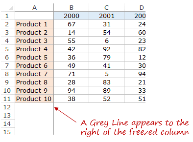 Using Excel Freeze Panes - Column Grey Line