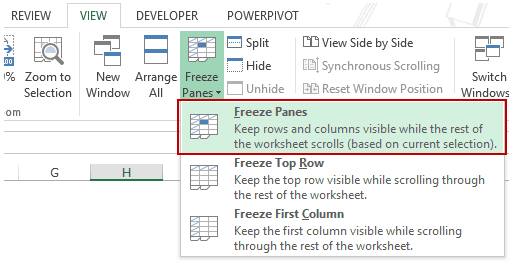 Using Excel Freeze Panes - Freeze Panes