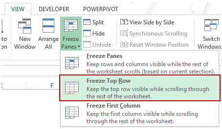 Using Excel Freeze Panes - Freeze top row