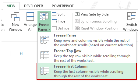 Using Excel Freeze Panes - Left Column