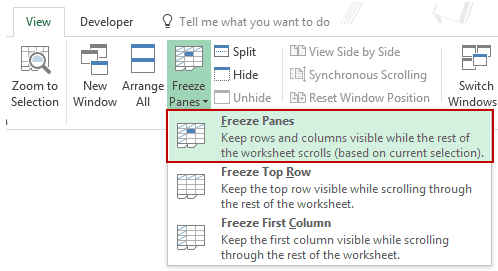 Using Excel Freeze Panes More Rows
