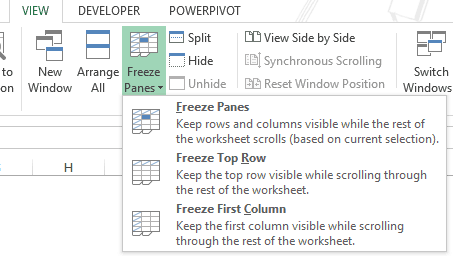 Using Excel Freeze Panes - Tab