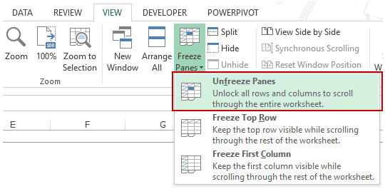 Using Excel Freeze Panes - Unfreeze rows