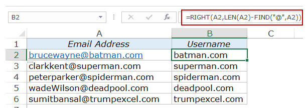 Extract Substring in Excel Using Formulas domain name