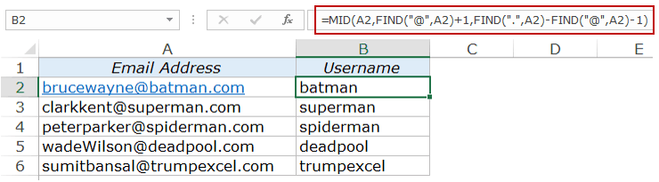 Extract Substring in Excel Using Formulas domian without com