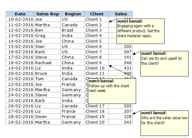 How to Print Comments in Excel - As displayed Output
