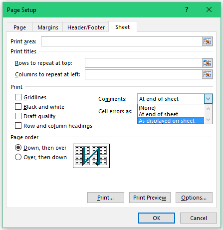 How to Print Comments in Excel - As displayed