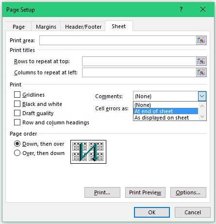 How to Print Comments in Excel - At end of sheet