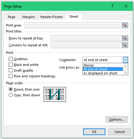 How to Print Comments in Excel - Comments Dropdown