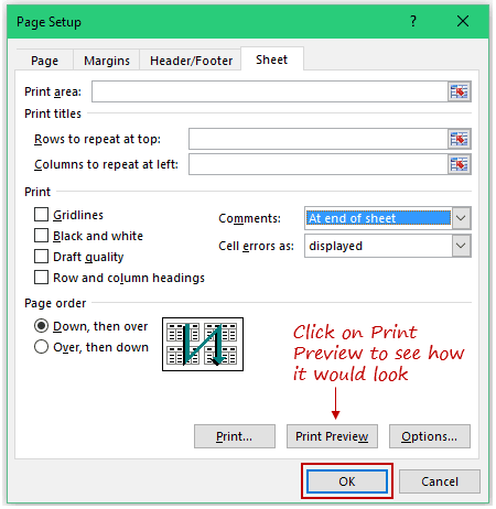 How to Print Comments in Excel - Print Preview