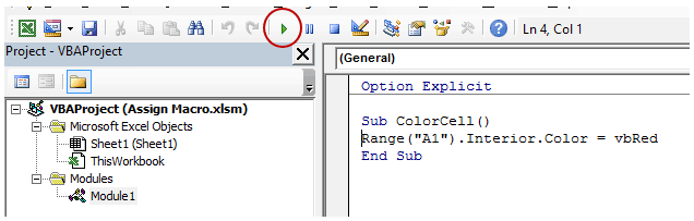 How to Run a Macro in Excel - From VB Editor