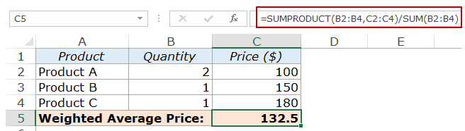 Calculate Weighted Average in Excel - Sumproduct data normalized