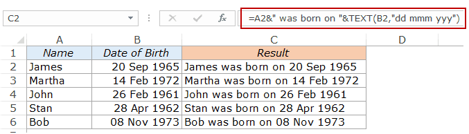 Combine Cells in Excel - DOB with text function