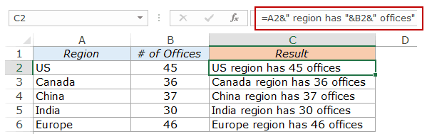 Combine Cells in Excel - text and numbers dash sentence