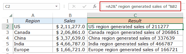 Combine Cells in Excel - text and numbers sales 2