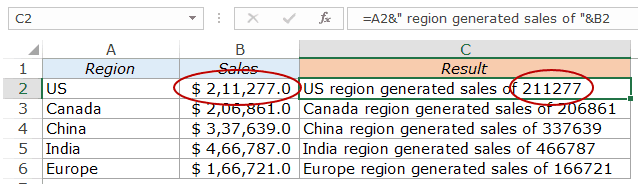 Combine Cells in Excel - text and numbers sales 3