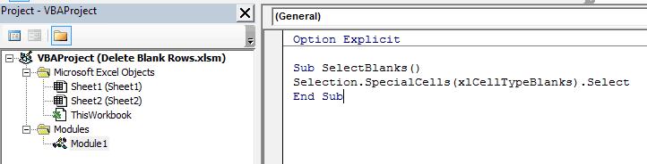 Delete Blank Rows in Excel - code in module