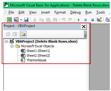 Delete Blank Rows in Excel - project explorer