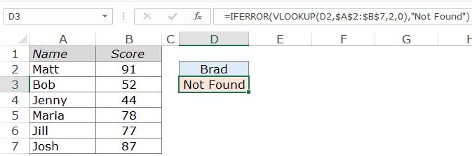 Excel Vlookup Example - handling error not found