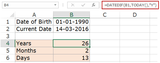 How to Calculate Age in Excel - Datedif Year Value