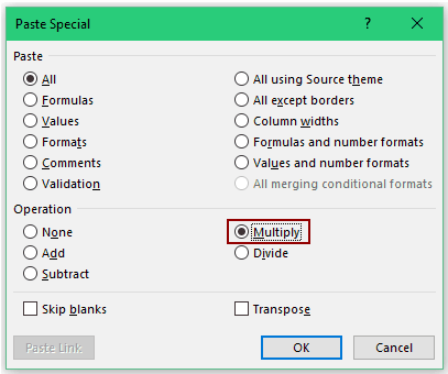 Convert Text to Numbers in Excel - multiply paste special