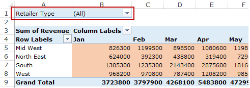 Creating a Pivot Table in Excel - Filters Area