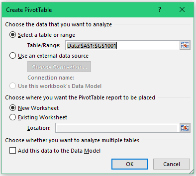 Creating a Pivot Table in Excel - Insert Pivot Dialog