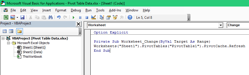 Refresh Pivot Table in Excel - Autorefresh Code in window