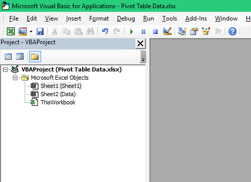 Refresh Pivot Table in Excel - VBA Project Explorer