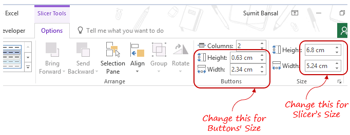Slicers in Excel Pivot Table - buttons size